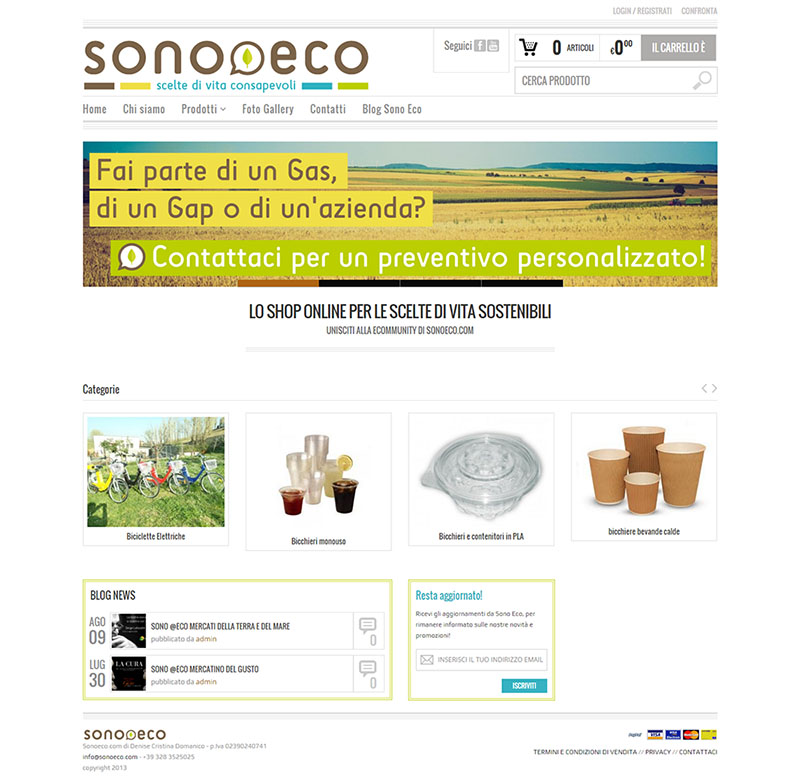 screenshot di una pagina dell'ecommerce Sonoeco.com