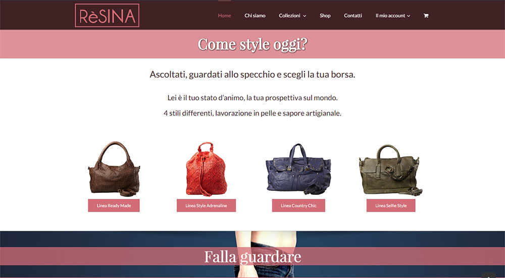 Resina e-commerce screenshot della homepage