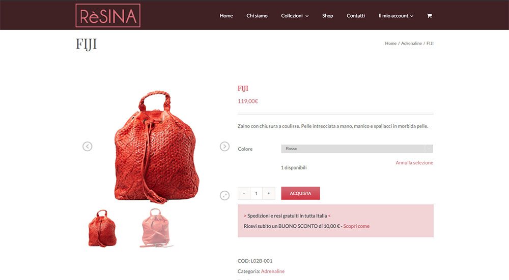 Resina e-commerce screenshot dello shop