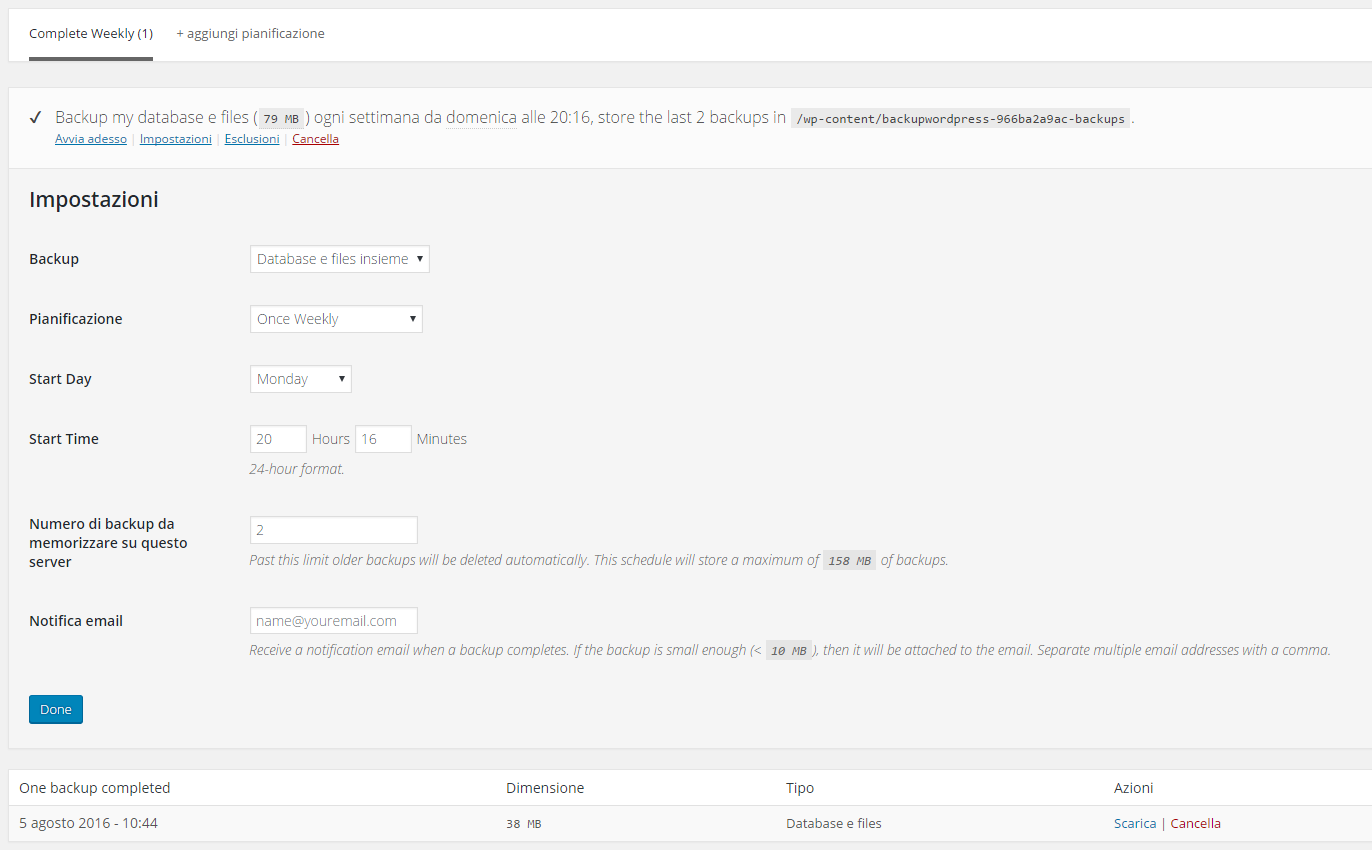 schermata delle opzioni di BackUpWordPress