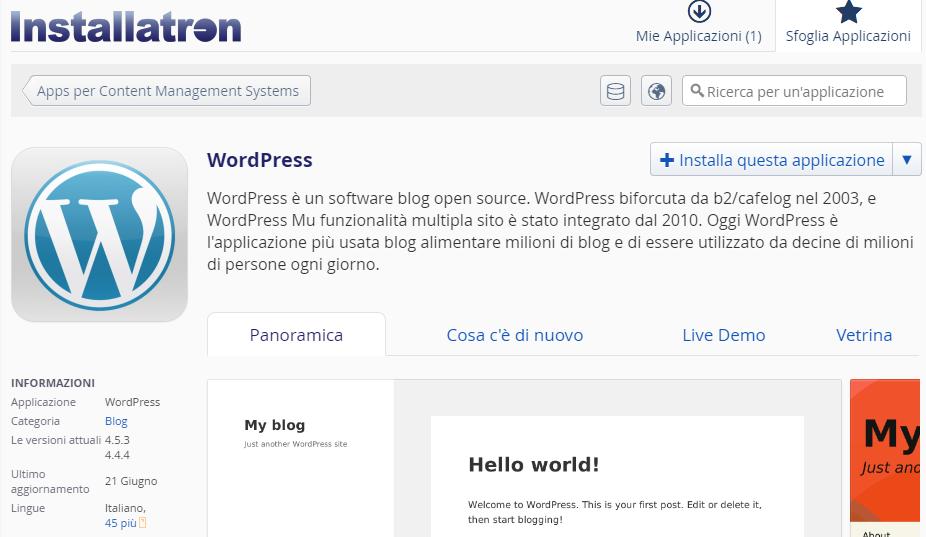 installare WordPress tramite Installatron - schermata iniziale