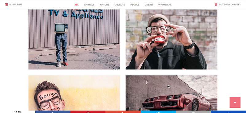 Screenshot del sito Gratisography